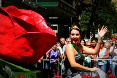Rose Lady In Mardi Gras-Parade Sydney Stockfotografie