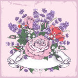 Rose and lavender. Vintage luxury greeting card with detailed hand drawn flowers - blooming rose and lavender. Retro styled ribbon with space for your text Royalty Free Stock Images