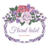 Rose and lavender. Vintage luxury greeting card with detailed hand drawn flowers - blooming rose and lavender.  on white background. Space for your text. Vector Stock Photo