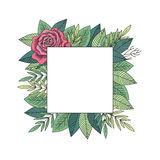 Rose and leafs frame vector vector illustration