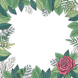 Rose and leafs frame vector stock illustration
