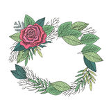 Rose and leafs wreath vector stock illustration