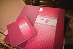 Rose leather wedding photo book Royalty Free Stock Images