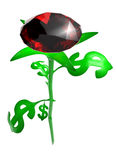 Rose from leaves in the form dollar. Rose from leaves in the form of brilliant dollar Royalty Free Illustration