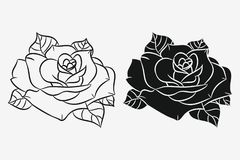 Rose with leaves set. Black silhouette and hand drawn outline of flower. Vector. Royalty Free Stock Image