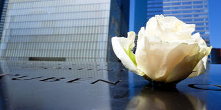 Rose left at 9/11 memorial Stock Photography