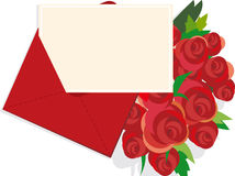 Rose and letter. Illustration of  a bouquet of roses letter Royalty Free Stock Photography