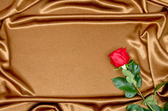 Rose lies on the satin fabric Royalty Free Stock Photography