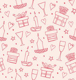 Rose light seamless pattern with gifts, candles, goblets. Endless decorative romantic background with boxes of presents Stock Photo