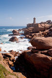 Rose lighthouse on Pink Granite Coast in France Stock Photo