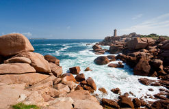 Rose lighthouse on Pink Granite Coast in France Stock Image