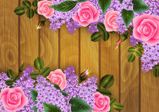Rose and lilac flowers decoration. Illustration of decoration with rose and lilac flowers on wood background Royalty Free Stock Images