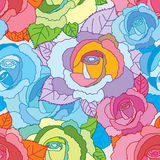 Rose line colorful seamless pattern