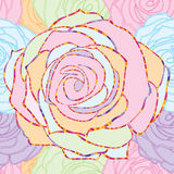 Rose line pastel seamless pattern Stock Photos