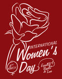 Rose In-line Style with Greeting Message for Women's Day, Vector Illustration stock photos