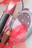 Rose lipstick amd eyshadow Stock Images