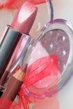 Rose lipstick amd eyshadow Stock Images