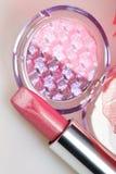 Rose lipstick amd eyshadow Stock Photos