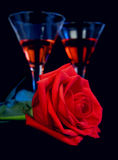 Rose and liquor Stock Image