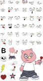 Rose little chubby pig cartoon expressions set Royalty Free Stock Image