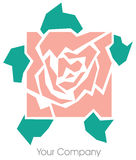 Rose logo. A square rose logo pink and green stock illustration