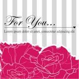 Rose love card. Rose stripe invitation love card Royalty Free Stock Images