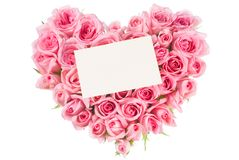 Rose In Love Shape. Pink color blossom rose in love shape Stock Photos