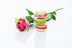 Rose and macarons royalty free stock images