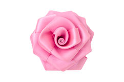 Rose made of fabric. Pink flower made of silk fabric closeup isolated on a white background Stock Images
