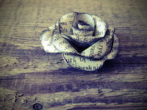 Rose made from old newspaper Stock Images