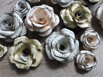 Rose made from old newspaper Stock Photo