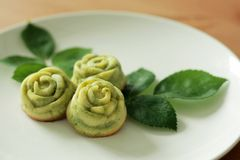 Rose madeleine cake. And leaf Stock Photography