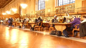 New York Public Library. The Rose Main Reading Room, at the New York Public Library stock footage
