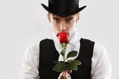 Rose and a man Stock Photos