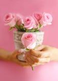 Rose in mani Fotografia Stock Libera da Diritti
