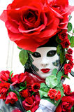 Rose Mask, Carnival. Beautiful Red rose mask in Venice Carnival, Italy Stock Photography