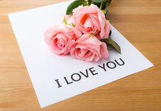 Rose and message card Stock Images