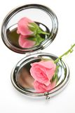 Rose and mirror Stock Image