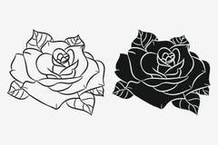 Rose mit den Blättern eingestellt Schwarzes Schattenbild und Hand gezeichneter Entwurf der Blume Vektor stock abbildung