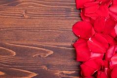 Rose mit den roten Blumenblättern mit Herzen für Valentinstag auf dem Eber Stockfotografie