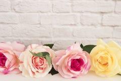 Rose Mock Up rosada Fotografía común diseñada Marco floral, mofa diseñada de la pared para arriba Rose Flower Mockup, Valentine M Fotos de archivo libres de regalías
