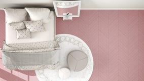 Rose moderne confortable et chambre à coucher beige avec le plancher de parquet en bois, le tapis avec le pouf et le lit avec la  illustration libre de droits