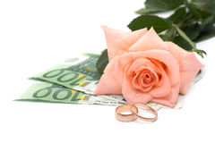 Rose, money and rings Stock Photography