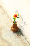 Rose mos in the ceramic vase. The rose mos in the ceramic vase Royalty Free Stock Photography