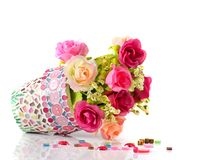 Rose and mosaic flower pot Stock Image