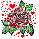 Rose motif and heart pattern Stock Image