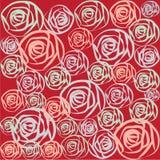 Rose multicolori su fondo rosso Immagini Stock