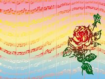 Rose and music. Colorful background with music score and red rose decoration Stock Photos