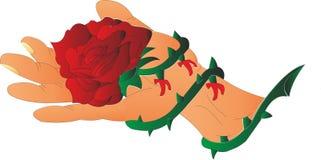 Rose nagelte auf der Palme fest stock abbildung