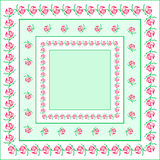Rose napkin. Red flower bordered square napkin Royalty Free Stock Photos